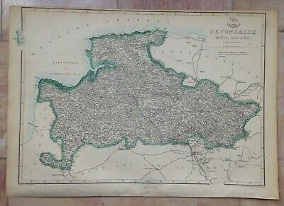 ENGLAND DEVON (NORTH) 1863 by E WELLER LARGE DETAILED ANTIQUE ENGRAVED MAP