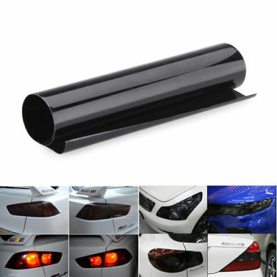 "12""x24"" Car Fog Light Headlight Smoke Tint Foglight Film Cover Wrap Sheet Black"