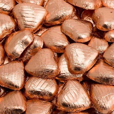 Rose Gold Foil Wrapped Belgian Milk Chocolate Hearts Wedding Party  Favours