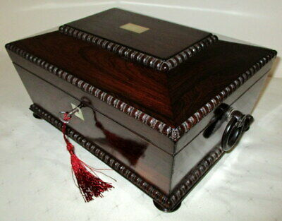 BEAUTIFUL ANTIQUE TABLE TOP ROSEWOOD & MOP BOX with key