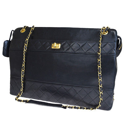 abd4cb1c9737 RARE Auth CHANEL Logos Quilted Chain Shoulder Bag Leather Black Vintage  90L738