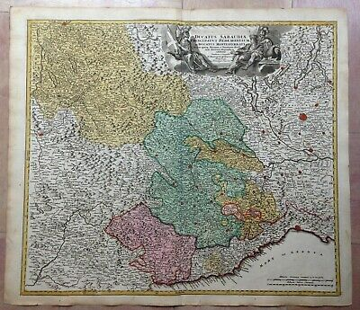Savoy Piemont Italy France Jb Homann 1720 Large Antique Engraved Map
