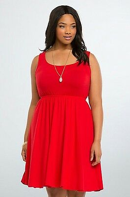 ec8b9c768e9 TORRID BOW BACK Skater Dress Size 0 (Large 12) Red Stretch Pleated ...