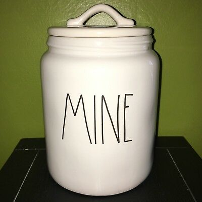 """New RAE DUNN Artisan Collection LL """"MINE"""" Canister By Magenta"""