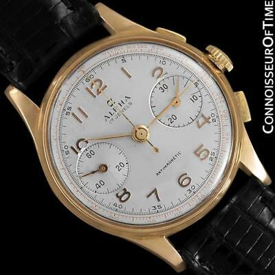1940's SWISS Vintage Mens Sporting 18K Rose Gold Chronograph - 1 Year Warranty