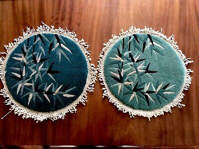 Antique Chinese Pair Small Woven Circular  Mat / Rug Samples Jenli Co Peiping