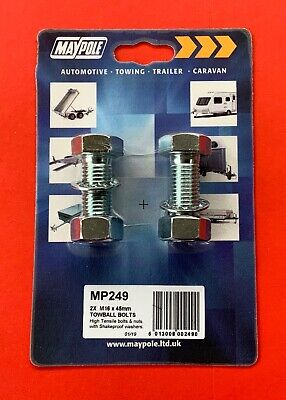 2 x Tow Ball Nuts & Bolts & Shakeproof Washers M16 x 45mm High Tensile 8.8 Grade