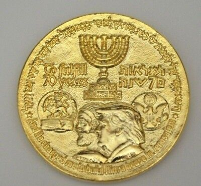 2018 70 Yrs King Cyrus Donald Trump Jewish Temple Coin authentic Gold plating NR