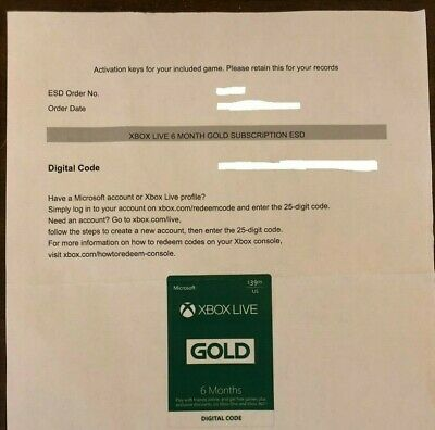 Microsoft Xbox LIVE GOLD 6 Month Membership for XBOX ONE/360