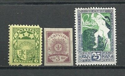 LATVIA:Stamps(3)...No Cancel...Hinged
