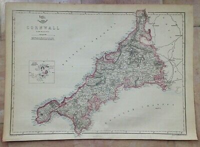 ENGLAND CORNWALL SCILLY ISLANDS 1863 by E WELLER LARGE DETAILED ANTIQUE MAP