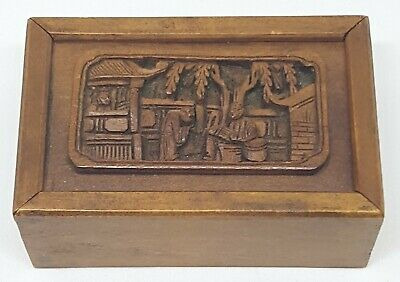 Good Antique Chinese Finely Carved Canton Wood Box