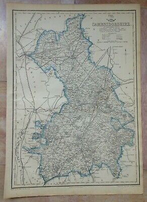 ENGLAND CAMBRIDGESHIRE 1863 by JOHN DOWER LARGE DETAILED ANTIQUE MAP