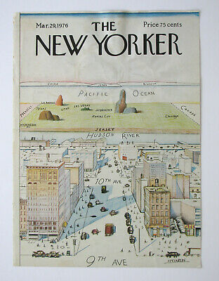 Original NEW YORKER Cover VIEW OF THE WORLD from 9th Avenue, Saul STEINBERG 1976