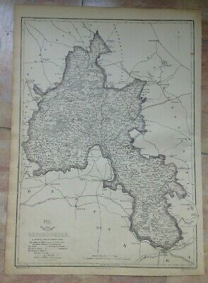 ENGLAND OXFORDSHIRE 1863 by B.R. DAVIES LARGE DETAILED ANTIQUE MAP