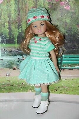 "Outfit FOR Dianna Effner 13"" Little Darling Dolls=Mint Green Skirt Hat Sweater"