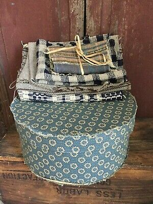 Early Style  Fabric Covered Box  Early Blue Coverlet Piece Heirloom Pieces