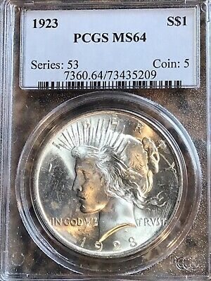 1923 Peace Silver $1 Dollar MS64 PCGS  certified