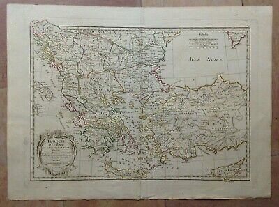 TURKEY GREECE CYPRUS (1782) by JANVIER 18e CENTURY LARGE ANTIQUE ENGRAVED MAP
