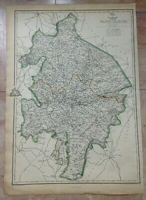 ENGLAND WARWICKSHIRE 1863 by E WELLER LARGE DETAILED ANTIQUE ENGRAVED MAP