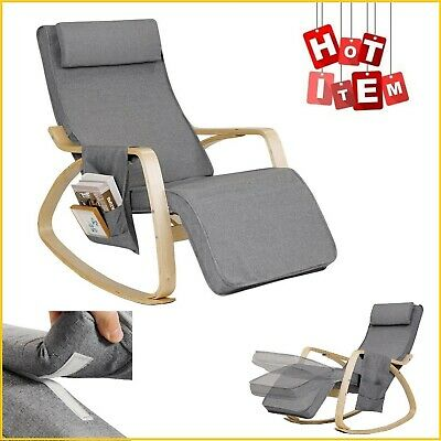 Indoor Rocking Chair Cushioned Armchair Lounge Chairs Leisure Relax Rocker Gray