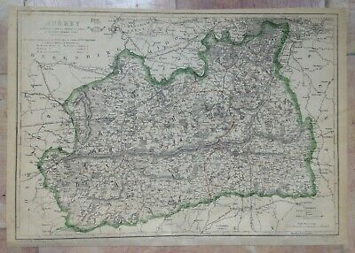 ENGLAND SURREY 1863 by B R DAVIES LARGE DETAILED ENGRAVED ANTIQUE MAP
