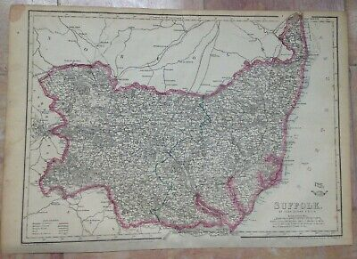 ENGLAND SUFFOLK 1863 by JOHN DOWER LARGE DETAILED ENGRAVED ANTIQUE MAP
