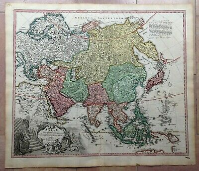 Asia Jb Homann 1730 Large Unusual Antique Copper Engraved Map 18Th Century