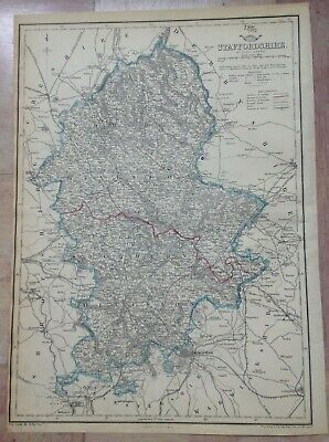 ENGLAND STAFFORDSHIRE 1863 by JOHN DOWER LARGE DETAILED ENGRAVED ANTIQUE MAP