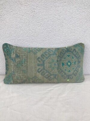 Oushak Rug Cushion Cover  Muted Color Low Pile Sofa Bed Lumbar Pillow 12''x20''