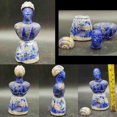Very Old Unique Rare Bactrian Lapis lazuli Stone dressed King Statue    # 9C