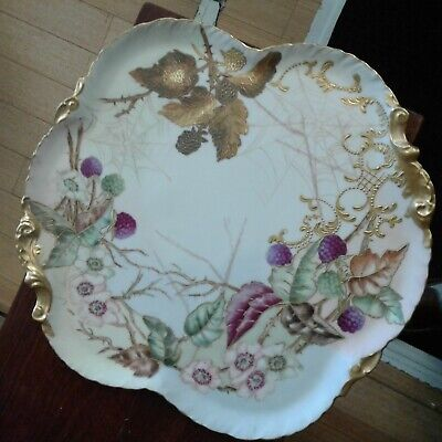 Antique/Vintage William Guerin LImoges France Hand Painted berries flowers