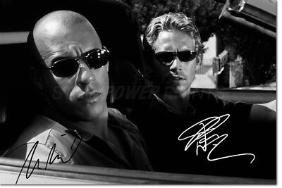 Vin Diesel & Paul Walker Photo Print Poster Pre Signed - 12 X 8 Inch (A4)