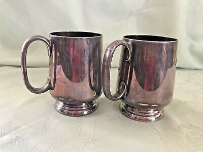 Antique Silver Plated J.d & S T10460 Tankard 1/3 Pint - Matching Pair
