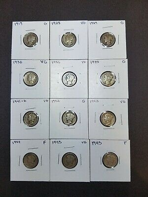 Mercury Dimes - Lot of 12 Mixed dates and mint marks 90% Silver Mercury Dimes