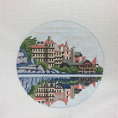 Handpainted Needlepoint Canvas Purple Palm designs Mohonk Mountain House NY