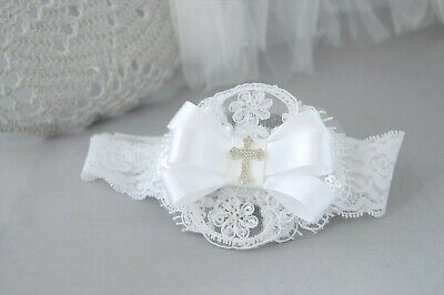 Baby bow with cross wide headband lace hair band, baptism christening handmade