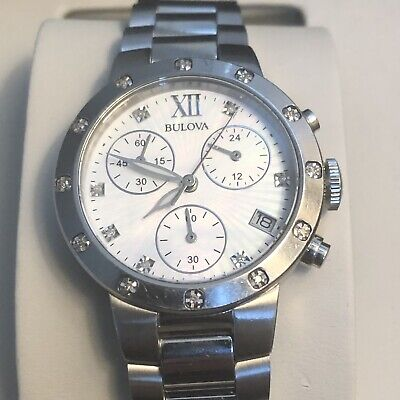 Bulova 96R202 Womens Stainless Bracelet Diamond Dial Chronograph Watch