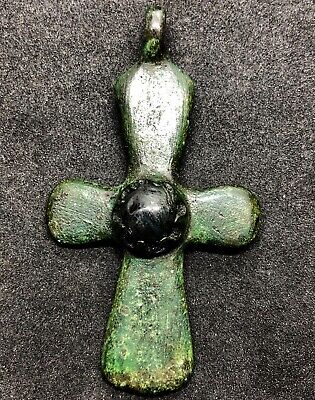 ANCIENT BYZANTINE ENGRAVED BRONZE CROSS PENDANT 76x44.7mm