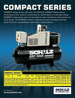 New 27 Cfm 7.5Hp Schulz Rotary Screw Air Compressor 1Ph 230 Volt Compact Series#