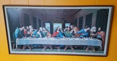 Vintage PBN Paint by Number Framed The Last Supper Craftmaster religious jesus