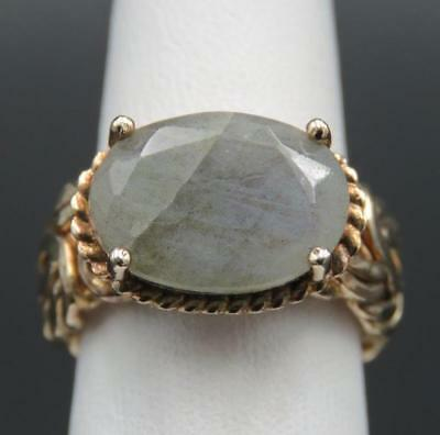 HSN Gold Over Sterling Silver Byzantine Labradorite Technibond Ring S 5.25