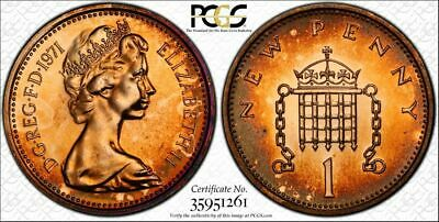 1971 Great Britain One Penny Pcgs Pr67Rd Beautiful Tone Pop 6 Highly Graded