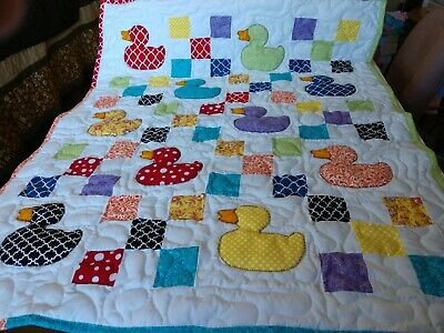 Handmade Pieced Scrappy 9-Patch Duck Girl Baby Crib Lap Quilt Throw Blanket