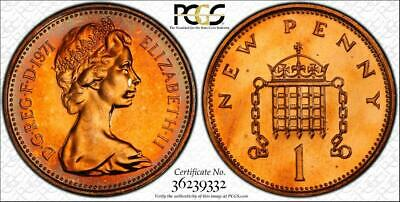 1971 Great Britain 1 New Penny Pcgs Pr65Rd Toned Coin In High Grade