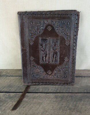 Vintage Embossed LEATHER Notepad / Book Cover