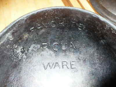 Antique Favorite Piqua Ware Cast Iron Double Spout Skillet No.10 With Heat Ring
