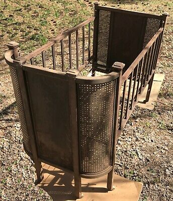 Antique 1890's Iron Crib, Adjustable Side Rail, Spring Mattress