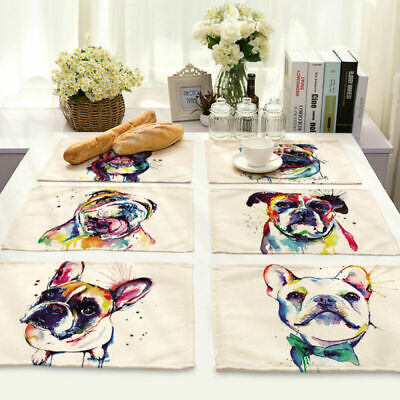 Abstract Dog Cotton Linen Insulation Bowl Placemat Dining Pad Table Mats MA91