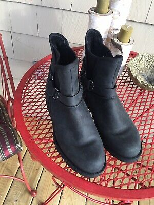 73064860525 NATURALIZER BLACK Leather Ankle Wedge Boots Hilma Size 5 NWOB ...